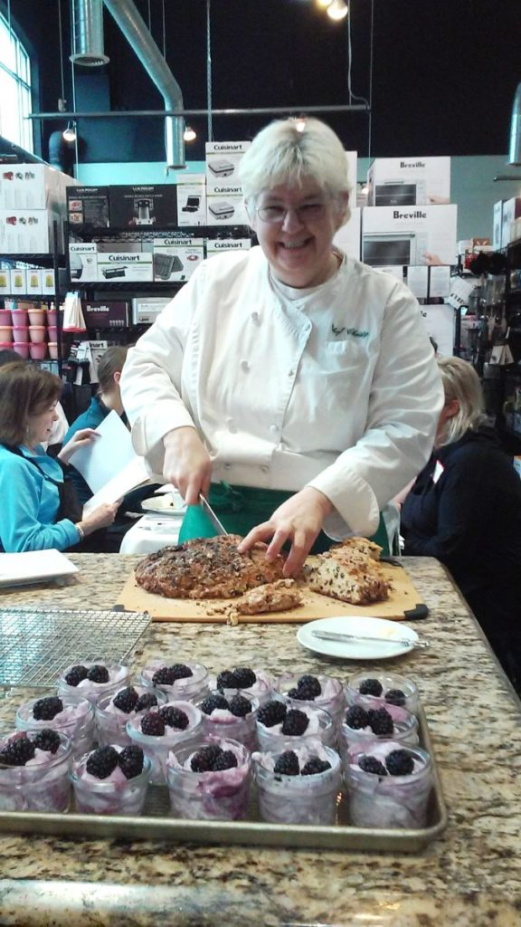 Cutting Irish Spotted Dick with Chef Christy